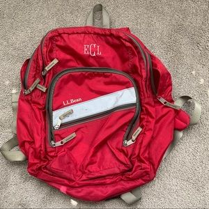 L. L. Bean monogrammed red backpack